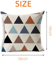 Kitmate Geometric Throw Pillow Covers,4 Pieces Modern Simple Geometric Style Pillow Cases Cotton Linen Burlap Square Decorative Cushion Slipcovers for Bed Couch Sofa Office Decor 18 x 18 Inches