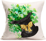 "Hopyeer Happy St Patricks Day Sister Gift Watercolor Lucky Shamrocks Clovers Black Hat Cotton Burlap Linen Throw Pillow Case Pillowcase Home Cushion Cover Sofa Decorative Square 18""X18"" (HS-Hat)"