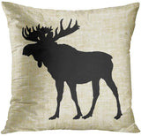 ArtSocket Set of 4 Throw Pillow Covers Sepia Moose by Leslie Harlow Antique Cabin Rustic Silhouette Burlap Animals Camping Decorative Pillow Cases Home Decor Square 18x18 Inches Pillowcases