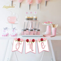 NICROLANDEE Rose Gold Baby Party Banner, High Chair Banner Decor Birthday Party Supplies Bunting Garland with Small Honeycomb for Girls Baby Shower Home Decoration (Rose Gold)