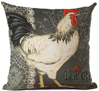 HFBBY 18 x 18 inches Retro Style Chicken Rooster Farm House Home Decor Throw Cushion Cover Burlap Pillow Case