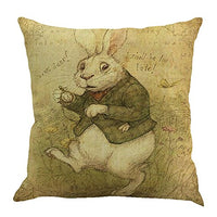 Easter Day Pillow Covers 18x18 Happy Easter Throw Pillow Case Square Decorative Pillow Case with Zipper Linen Cushion Cover for Festival Sofa Couch Decor (E)