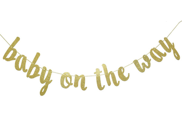 Baby On The Way Banner Hanging Garland for Gender Reveal Party Decorations Pregnancy Photo Prop Welcome Baby Cake Table Backdrop Sign (Gold Glitter)