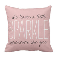 Emvency Throw Pillow Cover Cute Burlap Pink Sparkle Monogram Decorative Pillow Case Home Decor Square 16 x 16 Inch Pillowcase
