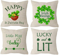 ITFRO Happy St Patricks Day Lucky Shamrocks Clovers May Good Luck Be with You Music Notes Cream Burlap Throw Pillow Cover Cushion Case Sofa Decorative Rectangle 12x20 Inches
