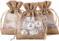 WRAPAHOLIC 4x5.5 inch 50 pcs Burlap Drawstring Gift Bag - Burlap with One Side Organza Wedding Party Welcome Favor Bags - Tan