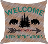 NIDITW Set of 2 Enjoy Holiday Welcome World Global Map Travel Outdoor Adventure Explore Body Burlap Throw Pillow Case Cushion Cover Pillowcase Sofa Decorative Square 18x18 Inches