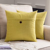 MIULEE Set of 2 Linen Throw Pillow Covers Cushion Case Button Vintage Farmhouse Pillowcase for Couch Sofa Bed 20 x 20 Inch 50 x 50 cm Orange