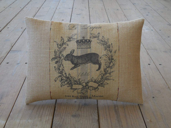 alerie Sassoon French Rabbit Burlap Pillowcase Farmhouse Pillowcase s Farm Shabby Chic