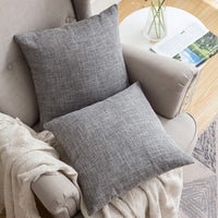 MIULEE Pack of 2 Decorative Linen Burlap Pillow Cover Square Solid Throw Cushion Case for Sofa Car Couch 18x18 Inch Light Blue