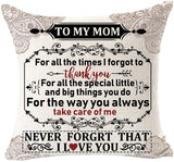 NIDITW Nice Mom Gift I Smile Because You are My Mom Cotton Burlap Decorative Square Throw Pillow Case Cushion Cover for Couch Living Room 18 inches (A)