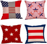 Set of 4 Patriotic American Flag July 4th Inspired Throw Pillow Covers,Stars and Stripes Vintage USA Flag Cotton Linen Pillow Cases Cushion Covers Square 18X18 Inch (Style 1)