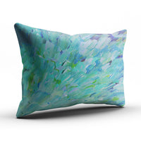 SALLEING Custom Pretty Cute Blue Teal Ocean Theme Peacock Feathers Mermaid Fins Waves Decorative Pillowcase Pillowslip Throw Pillow Case Cover Zippered One Side Printed 12x18 Inches