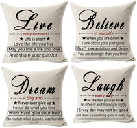 NIDITW Pack of 4 Inspirational Quotes Live Believe Dream Laugh Cotton Burlap Decorative Square Throw Pillow Case Cushion Cover for Couch Living Room 18 inches(Set of 4)