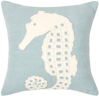 C&F Home Seahorse Coastal Tropical Ocean Sea Life Design Handcrafted Cotton Burlap Decorative Throw Applique Pillow 18 x 18 Blue