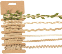 Jute Ribbons Set - 36-Piece Natural Jute Rope Twine Thin Burlap Ribbon - Decorative Jute Twisted String Leaf Twine DIY Crafts, Decoration, Embellishments - Brown, 6 Assorted Designs, 1 Yard Long