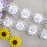 Embroidered Flower Lace Trims with Pearl on Organza Applique 4 Yards for Wedding,Sewing DIY Craft Ribbon (Double Layer)