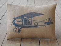 alerie Sassoon Airplane Burlap Pillowcase Aviation Accent Airplane Nursery Farmhouse Pillowcase s
