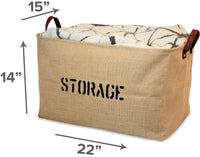"OrganizerLogic Burlap Storage Organizer Basket - Heavy Duty Storage Basket - Perfect Storage Jute Basket for Laundry, Shoes and Kids Toys Storage bin - Storage Baskets Measure 22"" x 15"" x 14"" X Large"