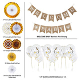 CIKKA 21 Pcs Baby Shower Decorations Neutral, White and Gold Baby Shower Decor, Gender Reveal Party Decorations