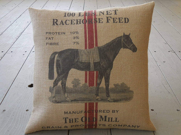 alerie Sassoon Race Horse Burlap Pillowcase Race Horse Feed 18inch Square Shabby Chic Horses Farmhouse Pillowcase s Horse