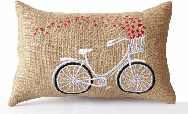 Amore Beaute Handmade Decorative Pillow Case -Heart Bicycle Embroidered Burlap Throw Pillow Cover -Dorm Decor (14x24)