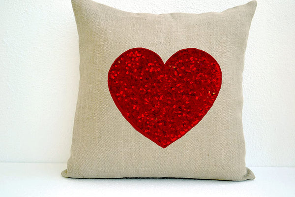 Amore Beaute Handmade Custom Ivory White Burlap Heart Pillow Cover with Passionate Red Heart Sequins- Decorative Cushion Cover- Embroidered Decorative Throw Pillow 16x16 Red Heart Pillows