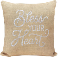 Texas Throw Pillow Cover Bless Your Heart Pillow Burlap and Canvas Texas Pillow Cover 18 x 18 Inches - Texas Pillow Cover Only