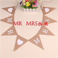Country Vintage JUST MARRIED Baby Shower Heart MR MRS Event Party Supplies Decoration Wedding Jute Burlap Linen Flag Banner