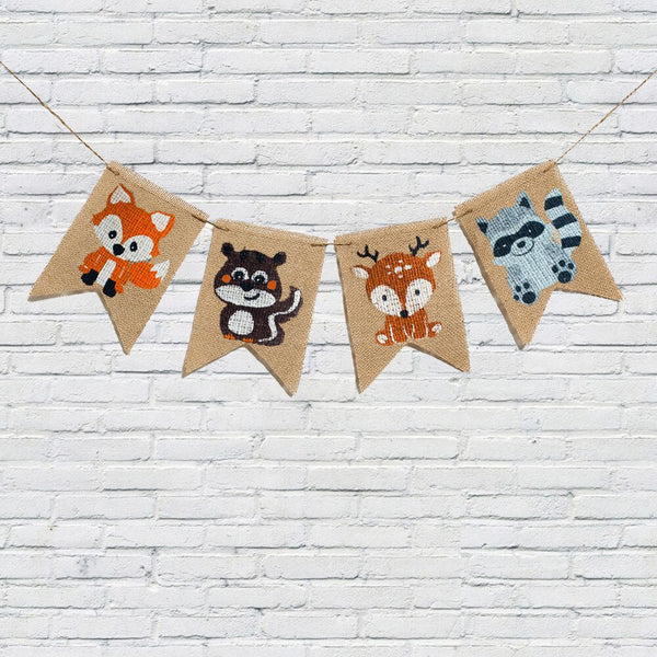 Jungle Animal Burlap Banner Pennant Woodland Fox Squirrel Deer Raccoon Garland for Baby Shower Kids Birthday Party Decorations