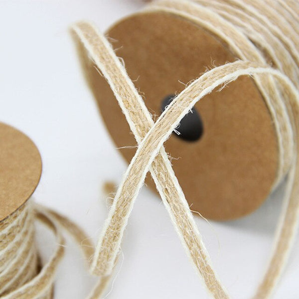10M/Roll Hemp Burlap Jute Rolls Hessian Ribbon DIY Baby Shower Lace Vintage Rustic Party Wedding Table Decoration