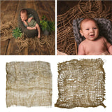 Newborn Handcraft Jute Backdrop Blanket Baby Photography Prop Chunky Burlap Layer Net Studio Props