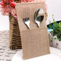 1pcs Vintage Hessian Lace Jute Burlap Cutlery Bag Holder Knife Fork Tableware Set Pouch Decor For Wedding Festival Party Supply