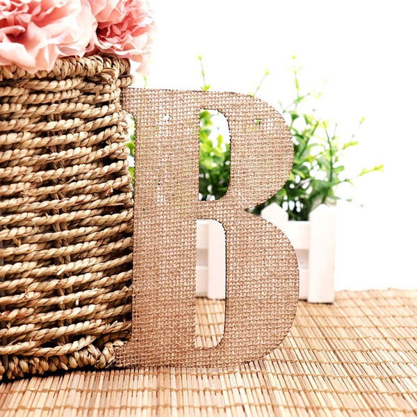 Vintage Jute Hessian Burlap A-Z Alphabet Letters DIY Bunting Banner Garland Table Display For Birthday Wedding Party Decoration