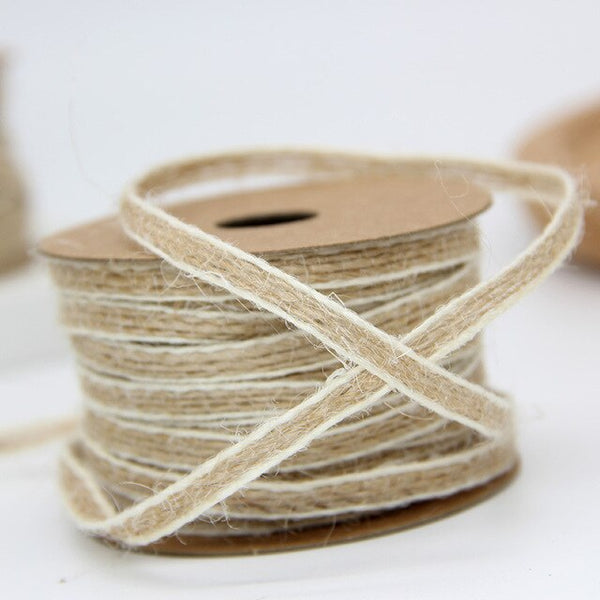 10M Jute Burlap Rolls Hessian Ribbon with Lace Vintage Rustic Wedding Decoration Party Baby Shower DIY Crafts Gift Box Decor .