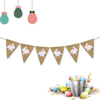 Easter Cute Bunny Flag Burlap Banner Garland Kids Baby Shower Birthday Party Bunting Easter Decor Take Photo Tools Photograph