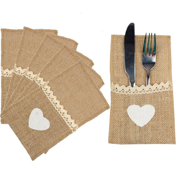 10pcs Natural Jute Burlap Cutlery Holders Packaging Fork and Knife for Wedding Decoration Baby Showr Birthday Party Supplies