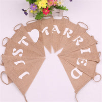 Burlap Pennant White Letter Heart Pattern Baby Shower hessian Banner Candy Bar Bunting Wedding Festival Party Decoration 62549