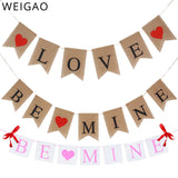 WEIGAO Love/Be Mine Red Heart Love Burlap Banner Baby Shower Hanging Garland for Valentines Day Wedding Engagement Decoration
