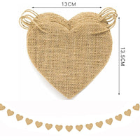 15pcs/set Party Banner Heart Shaped DIY Hanging Burlap Banner Pennant Banner for Wedding Valentine Baby Shower Party Decor