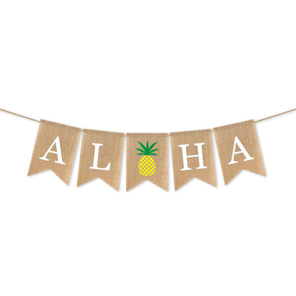 2M Hawaiian Baby Birthday Party Decoration One Flag Pineapple Flamingo Aloha Banner Burlap Flags Wedding Kid Party Hanging Decor