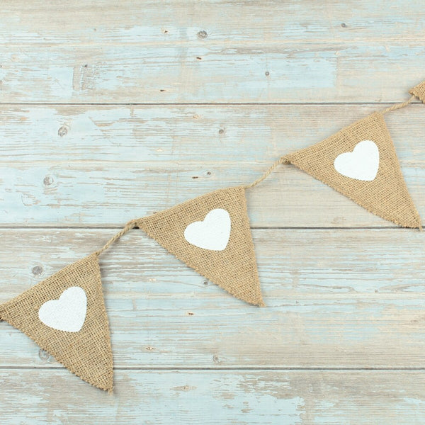 Love Heart  Jute Hessian Burlap Bunting Flag Banner Holiday Party Supplies rustic Wedding decoration baby shower birthday favor