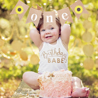 Burlap ONE Banner Flag Baby First Birthday Party Decoration Home Pull Flag Baby Photo Folder Album Souvenir Gift MAR12