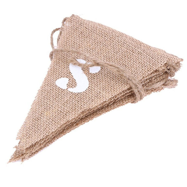 Wedding Just Married Jute Burlap Vintage Shabby Hanging Banner Linen Pennant  Baby Shower Wedding Party Decor