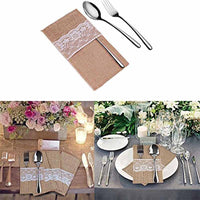 Burlap Pouch fork Knife Cutlery Holder for Rustic Wedding engagement baby Bridal Shower Birthday Christmas retirement Decoration