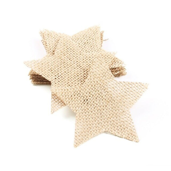 10pcs/set Vintage Hessian Burlap Heart Round Star Pieces Slice For DIY Craft Baby Shower Birthday Wedding Home Party Decoration
