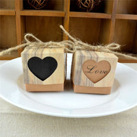 100pcs Kraft Paper Dragee Candy Gift Box Heart Burlap Bag DIY Kid Gifts for Guests Wedding Favors Birthday Baby Party Decoration