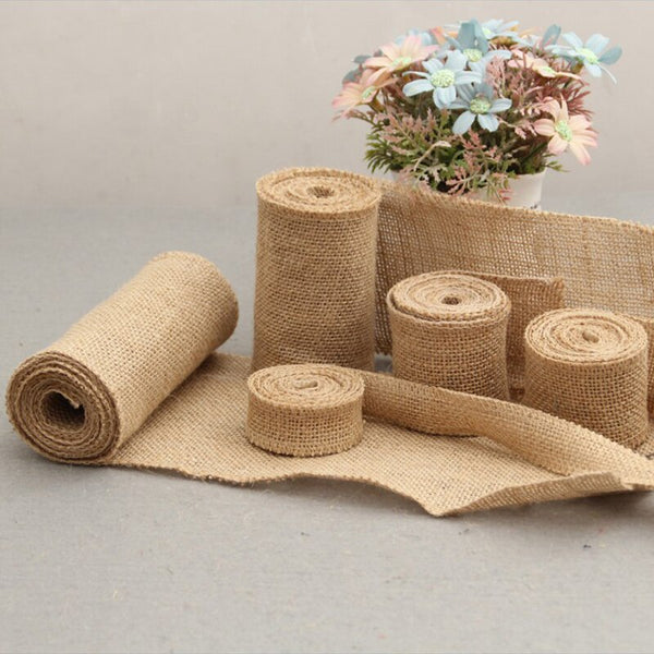 2M Natural Jute Burlap Hessian Rolls for Vintage Rustic Wedding Decoration Baby Shower Birthday Christmas Halloween Gift
