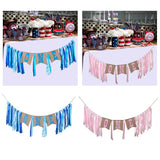 Ribbon Banner Dining Chair Burlap Flag 1st Birthday Flag Baby Girl Boy Bunting Party Decoration Nursery Garland