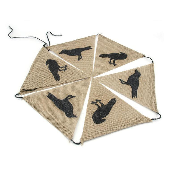 7pcs Crow Pattern Pennant Bunting Banner Jute Burlap Flags For Wedding Baby Shower Birthday Party Decoration Photo Props